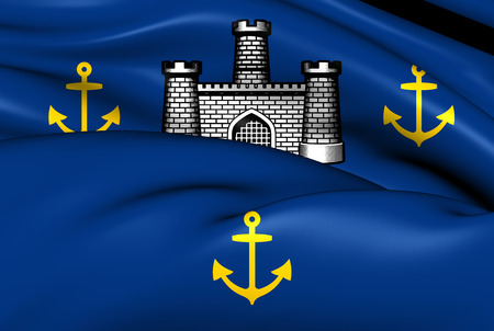 council: Isle of Wight Flag, England. Close Up.