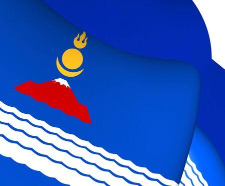 3D Flag of Uvs Province, Mongolia. Close Up. photo