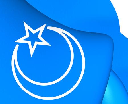 former: 3D Flag of Second East Turkestan Republic. Close Up.