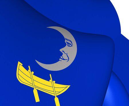 municipality: 3D Flag of Trosa Municipality, Sweden. Close Up. Stock Photo