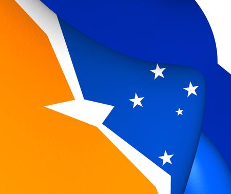 fuego: 3D Flag of Tierra del Fuego, Argentina. Close Up.