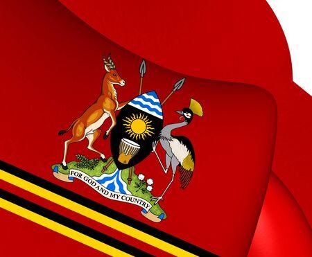 standard: 3D Presidential Standard of Uganda. Close Up.