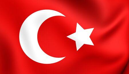 ottoman empire: 3D Flag of Ottoman Empire (1299-1923). Close Up. Stock Photo