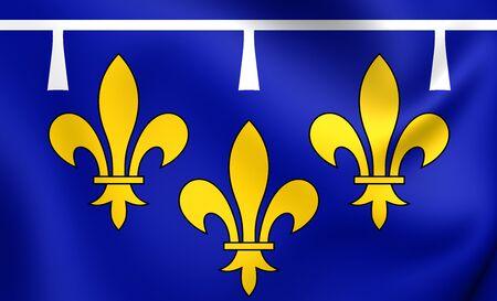 orleans symbol: 3D Flag of Orleanais, France. Close Up.