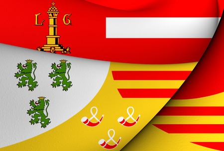 liege: 3D Flag of Liege, Belgium. Close Up. Stock Photo