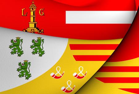 liege: 3D Flag of Liege, Belgium. Close Up. Stock Photo