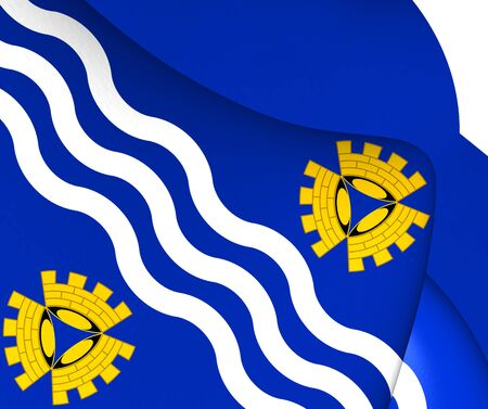 merseyside: 3D Flag of Merseyside, England. Close Up.