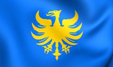 limburg: 3D Flag of Heerlen, Netherlands. Close Up. Stock Photo