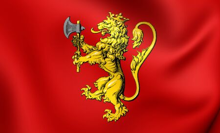 standard: 3D Royal Standard of the Norway. Close Up.