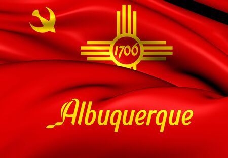 albuquerque: 3D Flag of Albuquerque, USA. Close Up. Stock Photo