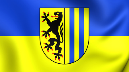 3d flag: 3D Flag of Leipzig, Germany. Close Up.