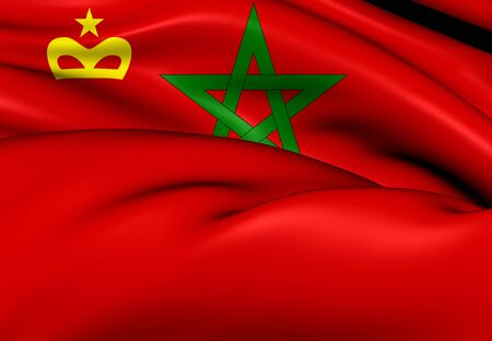 ensign: 3D Civil Ensign of the Morocco. Close Up.