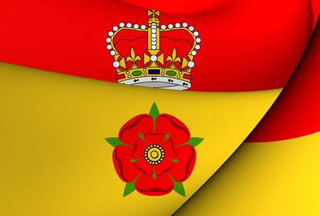 hants: 3D Flag of Hampshire, England. Close Up.