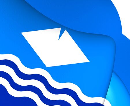 council: Isle of Wight 3D Flag, England. Close Up. Stock Photo