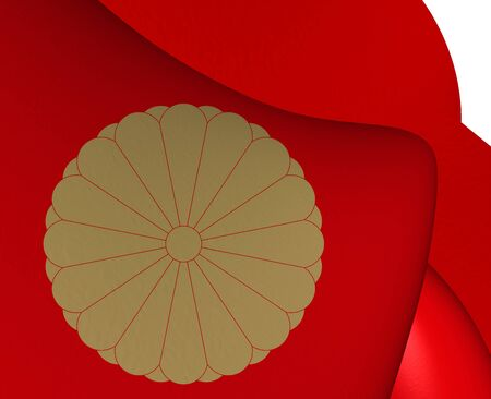 emperor: 3D Flag of the Japanese Emperor. Close Up.