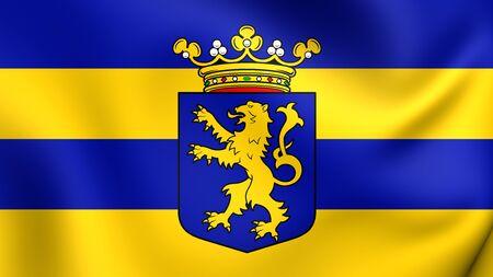 leeuwarden: 3D Flag of Leeuwarden, Netherland. Close Up. Stock Photo