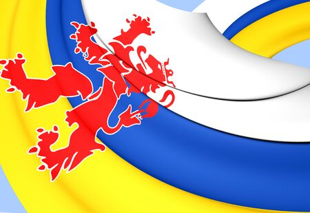 limburg: 3D Flag of Limburg, Netherlands. Close Up.