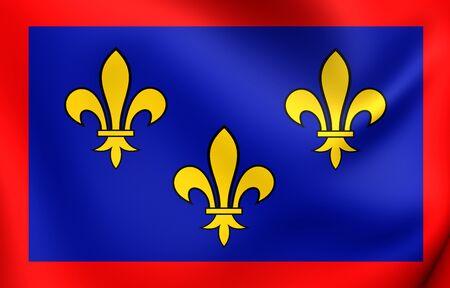 anjou: Bandera 3D de Anjou, Francia. Acercamiento.