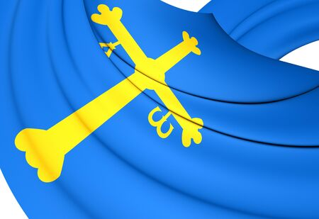 principality: Principality of Asturias 3D Flag, Spain. Close Up.
