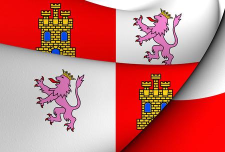 leon: 3D Flag of Castile and Leon, Spain. Close Up.