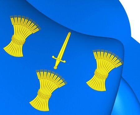 palatine: 3D Flag of Cheshire, England. Close Up.