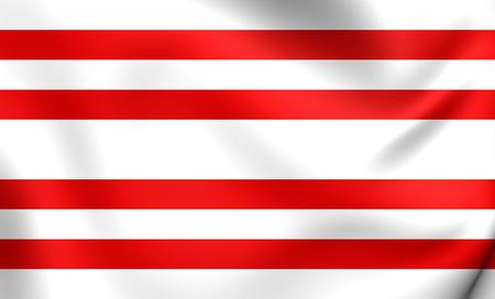 3D Flag of Gorinchem, Netherlands. Close Up. Stock Photo