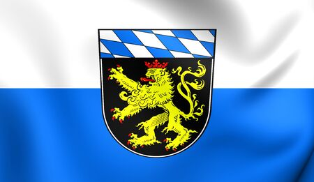 bavaria: 3D Flag of Upper Bavaria, Germany. Close Up.