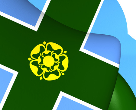derbyshire: 3D Flag of Derbyshire, England. Close Up.
