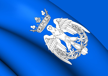 maria: 3D Flag of Maria, Spain. Close Up. Stock Photo