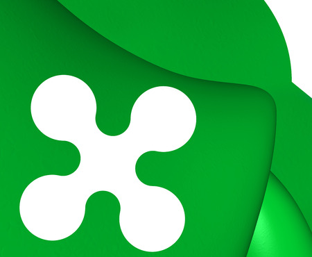 lombardy: 3D Flag of Lombardy, Italy. Close Up. Stock Photo