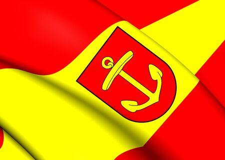 am: 3D Flag of Ludwigshafen am Rhein, Germany. Close Up.