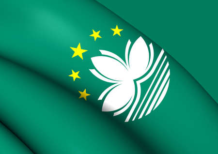 macau: 3D Flag of the Macau. Close Up.