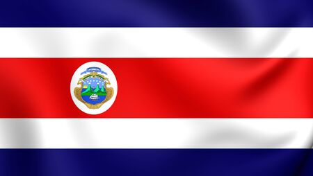 rican: 3D Flag of the Costa Rica. Close Up.
