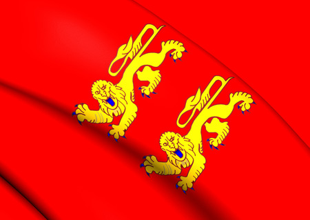 normandy: 3D Flag of Lower Normandy, France. Close up.
