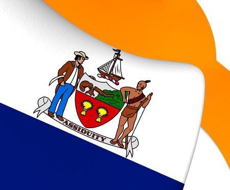albany: 3D Flag of Albany, USA. Close Up.