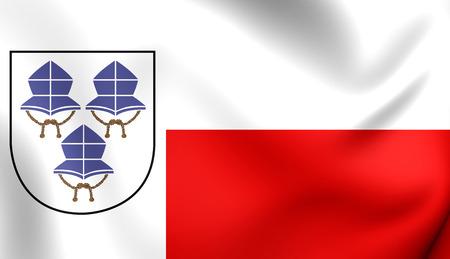 landshut: 3D Flag of Landshut, Germany. Close Up.