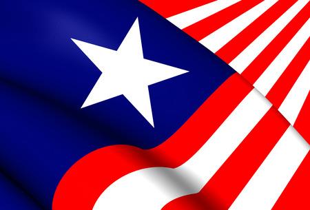 liberia: 3D Flag of the Liberia. Close Up. Stock Photo