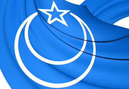 east: 3D Flag of Second East Turkestan Republic. Close Up.