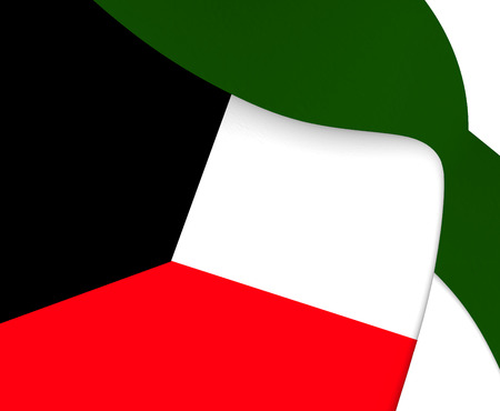 kuwait: 3D Flag of the Kuwait. Close Up.