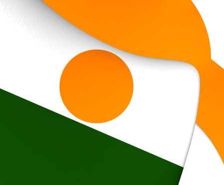 niger: 3D Flag of the Niger. Close Up.
