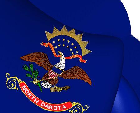 north dakota: 3D Flag of North Dakota, USA. Close Up.