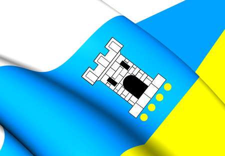 wielkopolskie: 3D Flag of Pleszew City, Poland. Close Up.