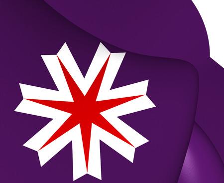 hokkaido: 3D Flag of Hokkaido Prefecture, Japan. Close Up.
