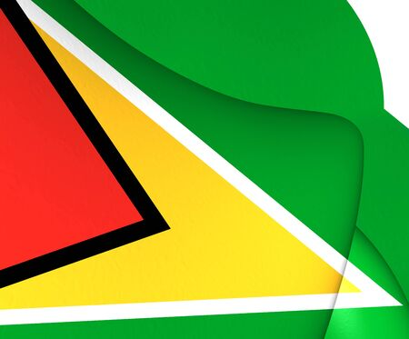 guyana: 3D Flag of the Guyana. Close Up.