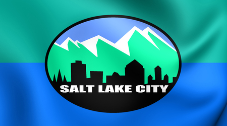 salt lake city: 3D Flag of Salt Lake City, USA. Close Up.
