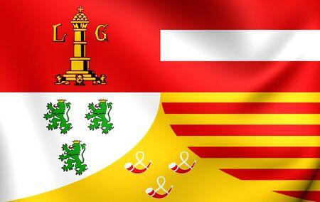 liege: 3D Flag of Liege Province, Belgium. Close Up.