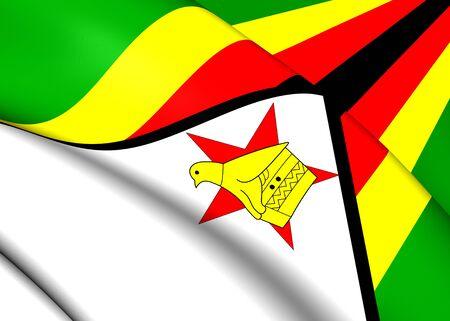 zimbabwe: 3D Flag of the Zimbabwe. Close Up.