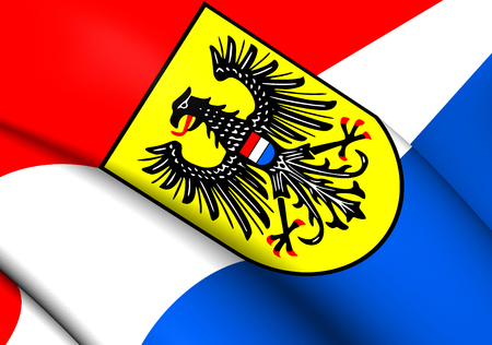 stuttgart: 3D Flag of Heilbronn, Germany. Close Up.