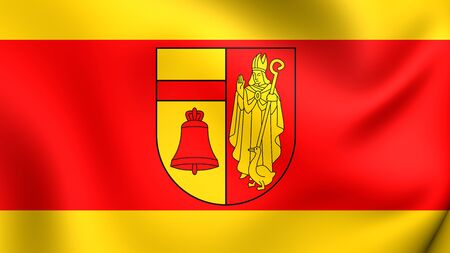 munster: 3D Flag of Coesfeld, Germany. Close Up.