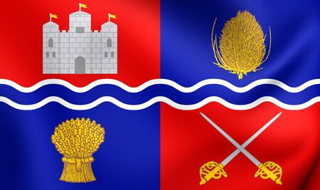 proposed: 3D Flag of Newbury, England. Close Up. Stock Photo